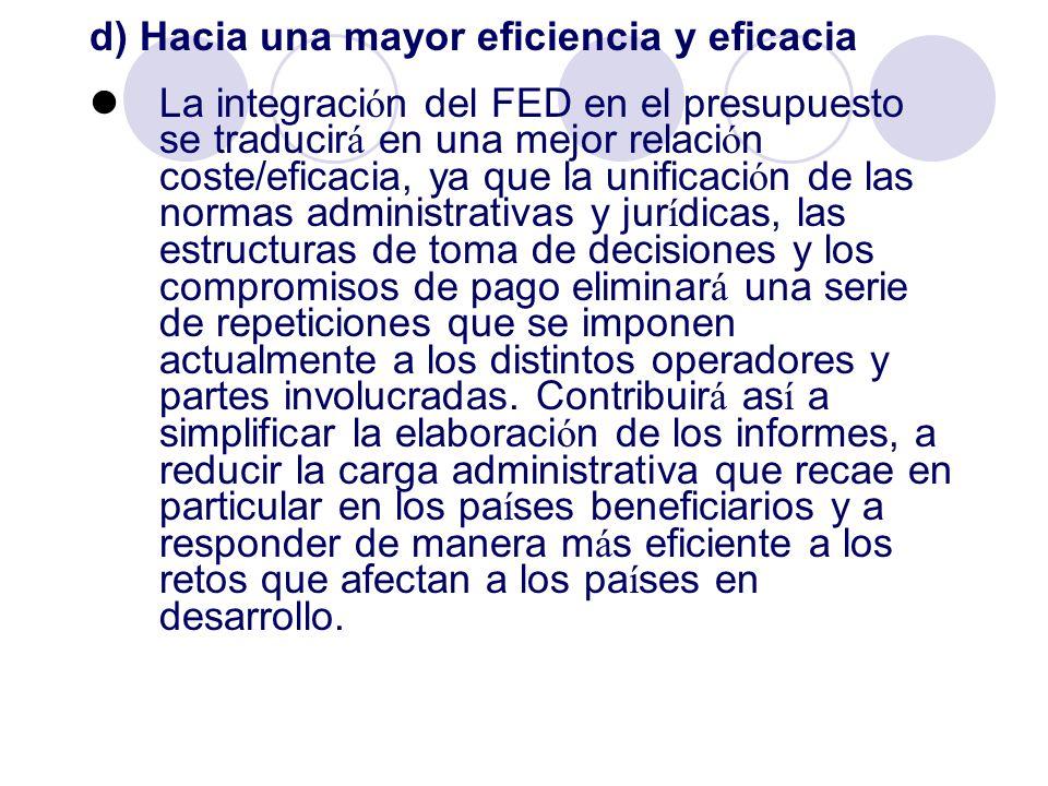 d) Hacia una mayor eficiencia y eficacia