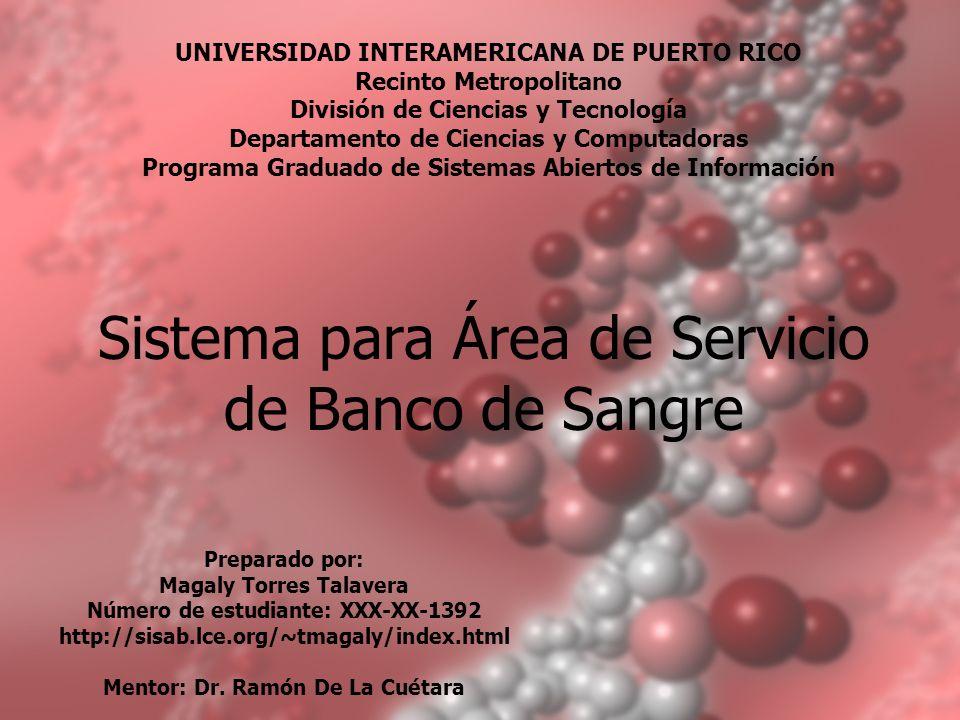 Sistema para Área de Servicio de Banco de Sangre