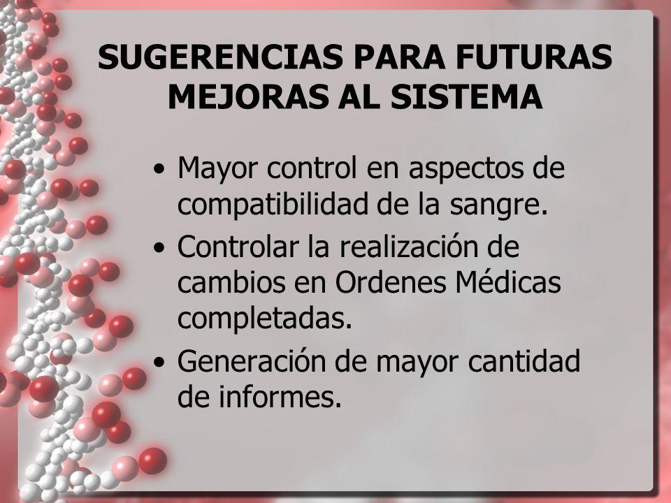 SUGERENCIAS PARA FUTURAS MEJORAS AL SISTEMA