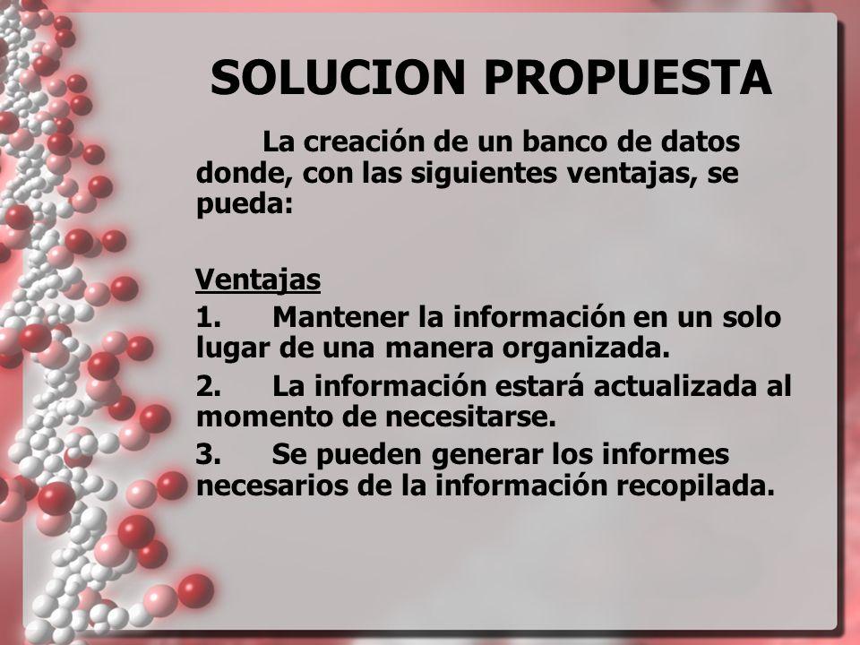 SOLUCION PROPUESTA La creación de un banco de datos donde, con las siguientes ventajas, se pueda: Ventajas.