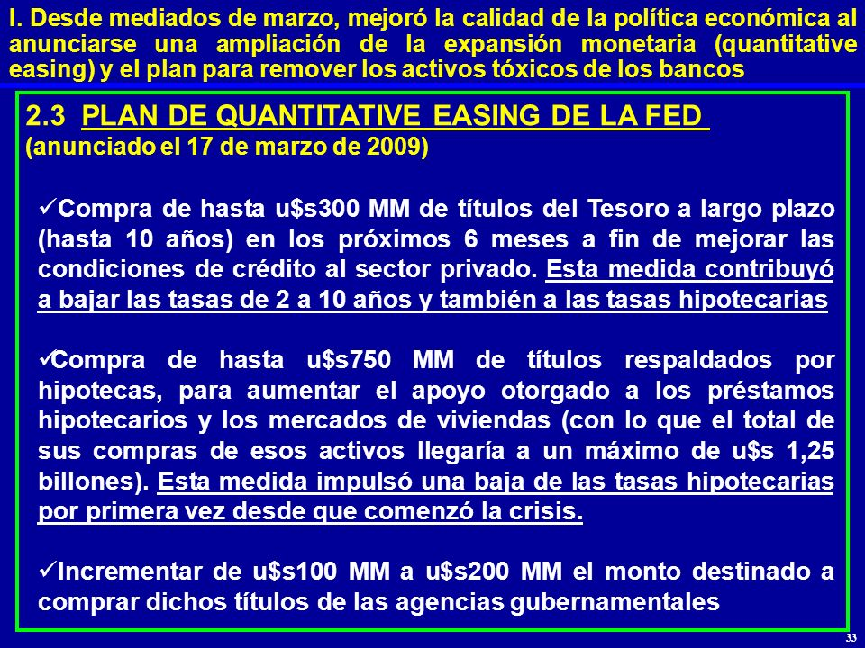 2.3 PLAN DE QUANTITATIVE EASING DE LA FED