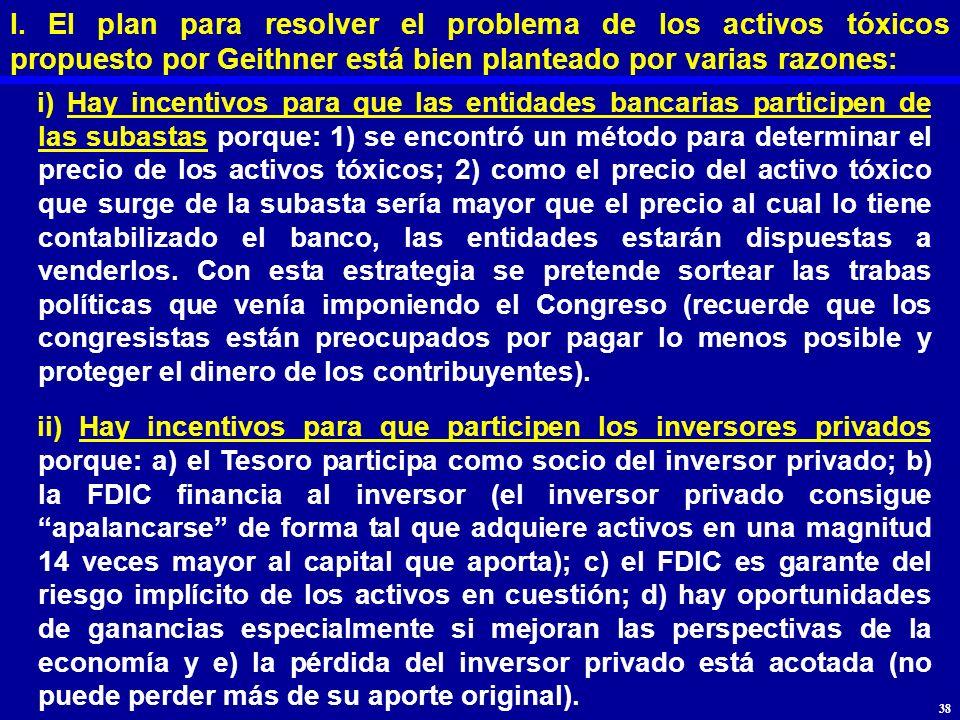 I. El plan para resolver el problema de los activos tóxicos propuesto por Geithner está bien planteado por varias razones: