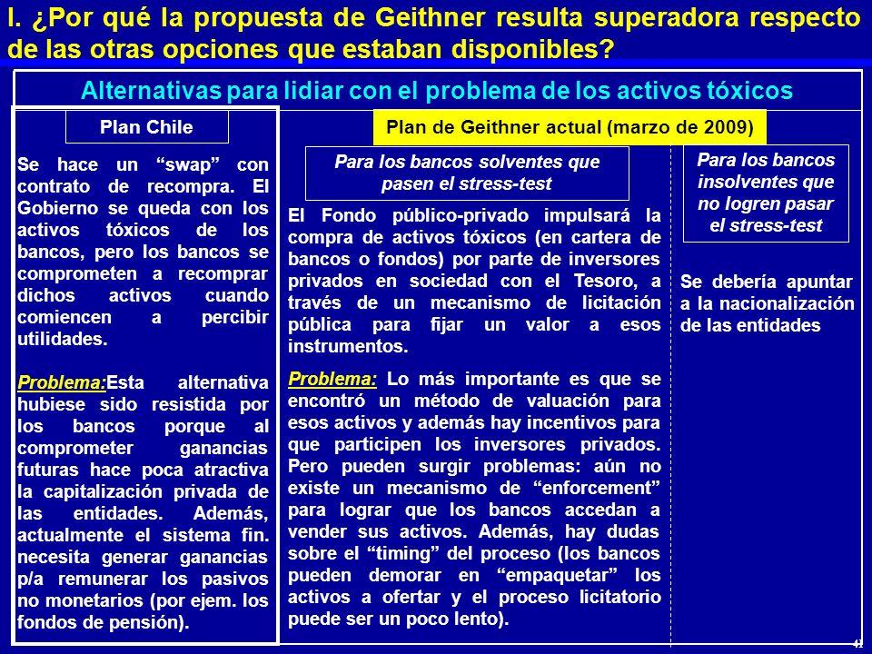 I. ¿Por qué la propuesta de Geithner resulta superadora respecto de las otras opciones que estaban disponibles