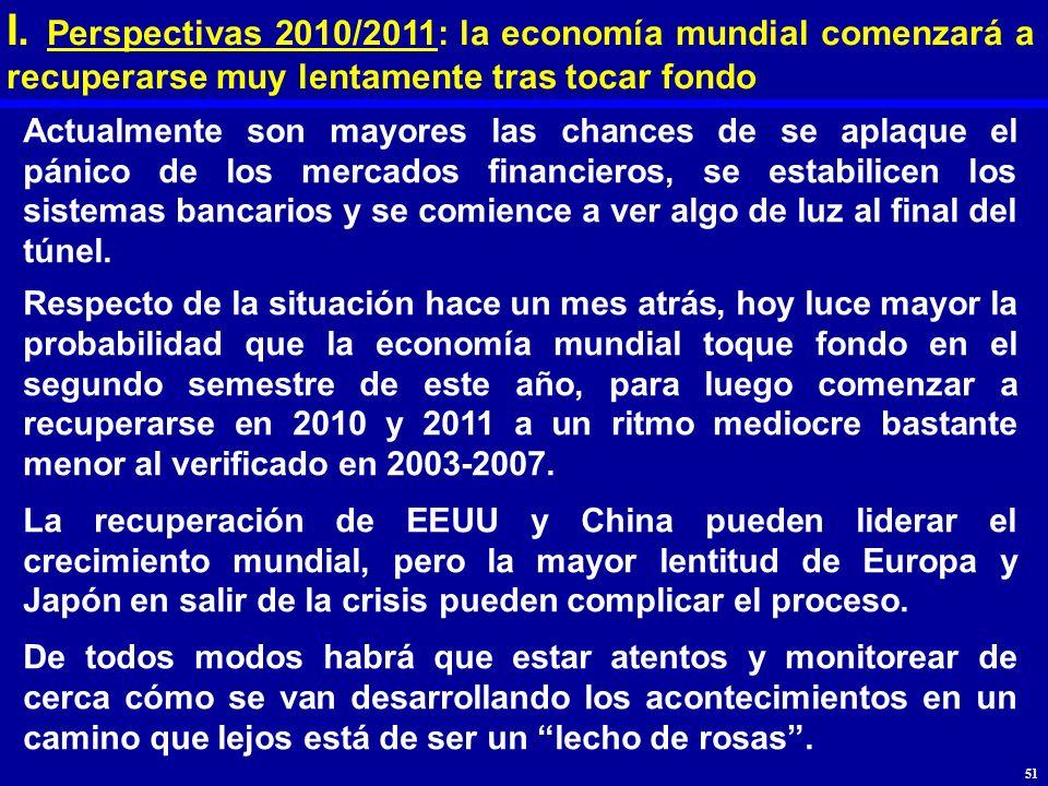 I. Perspectivas 2010/2011: la economía mundial comenzará a recuperarse muy lentamente tras tocar fondo