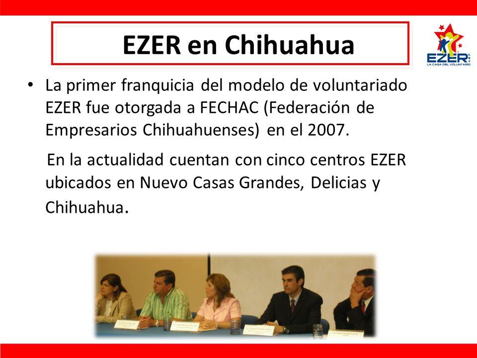 EZER en Chihuahua La primer franquicia del modelo de voluntariado EZER fue otorgada a FECHAC (Federación de Empresarios Chihuahuenses) en el 2007.