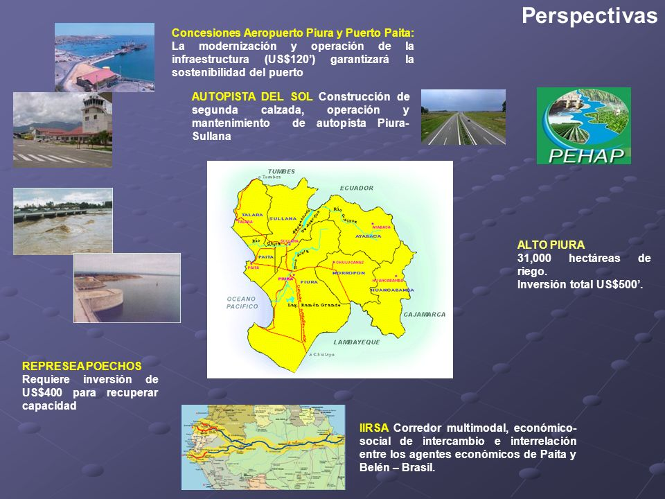 Perspectivas IIRSA Corredor multimodal, económico-social de intercambio e interrelación entre los agentes económicos de Paita y Belén – Brasil.
