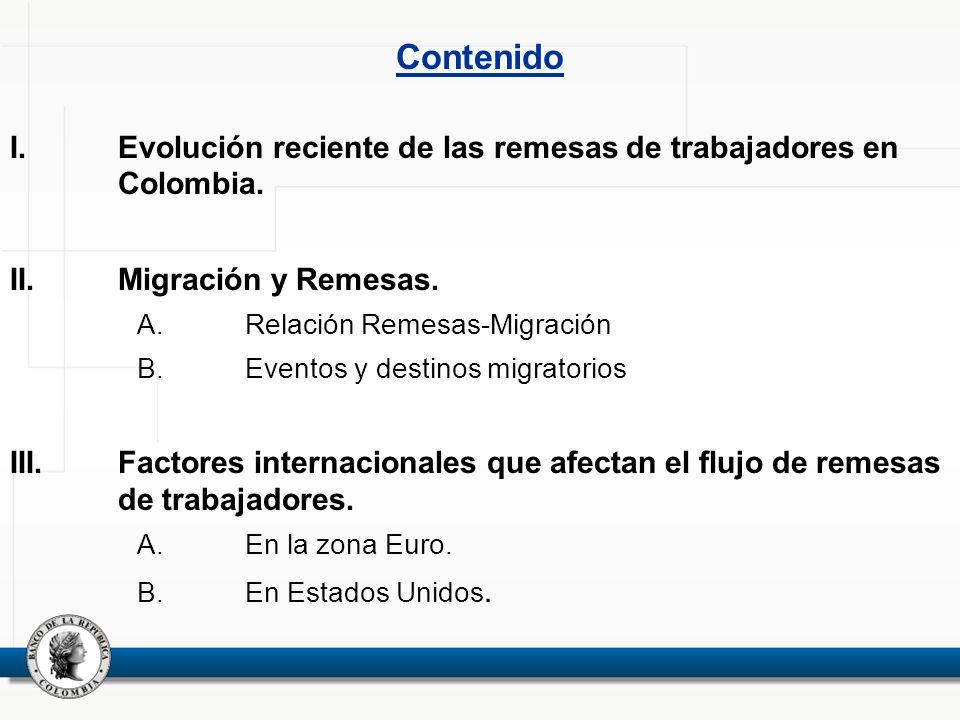 Contenido Evolución reciente de las remesas de trabajadores en Colombia. Migración y Remesas. Relación Remesas-Migración.