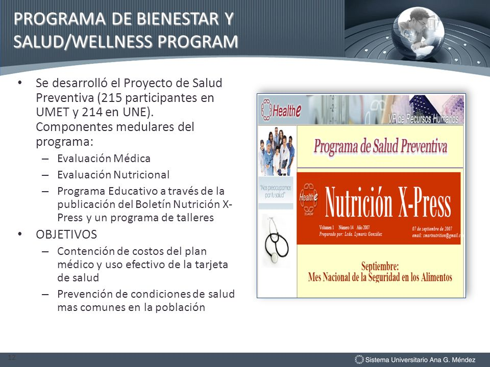 PROGRAMA DE BIENESTAR Y SALUD/WELLNESS PROGRAM