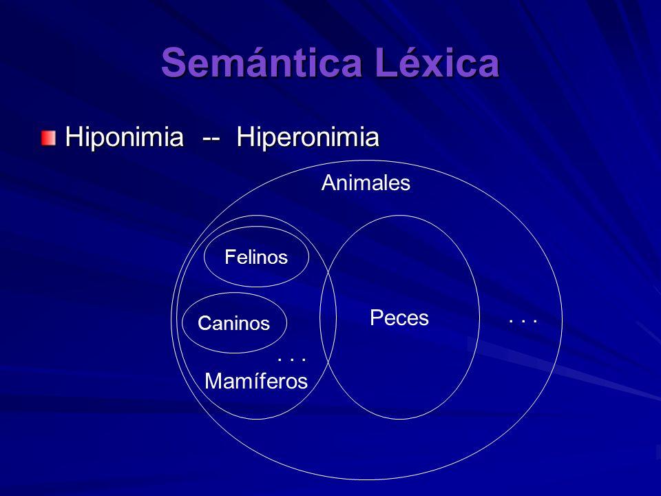 Semántica Léxica Hiponimia -- Hiperonimia Animales Peces . . . . . .