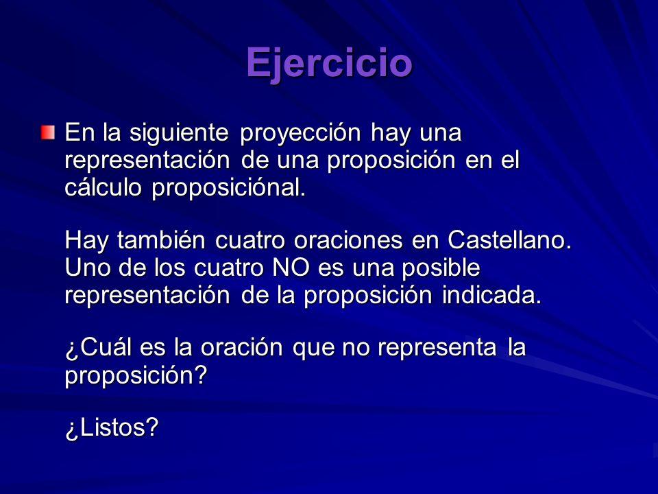 Ejercicio En la siguiente proyección hay una representación de una proposición en el cálculo proposiciónal.