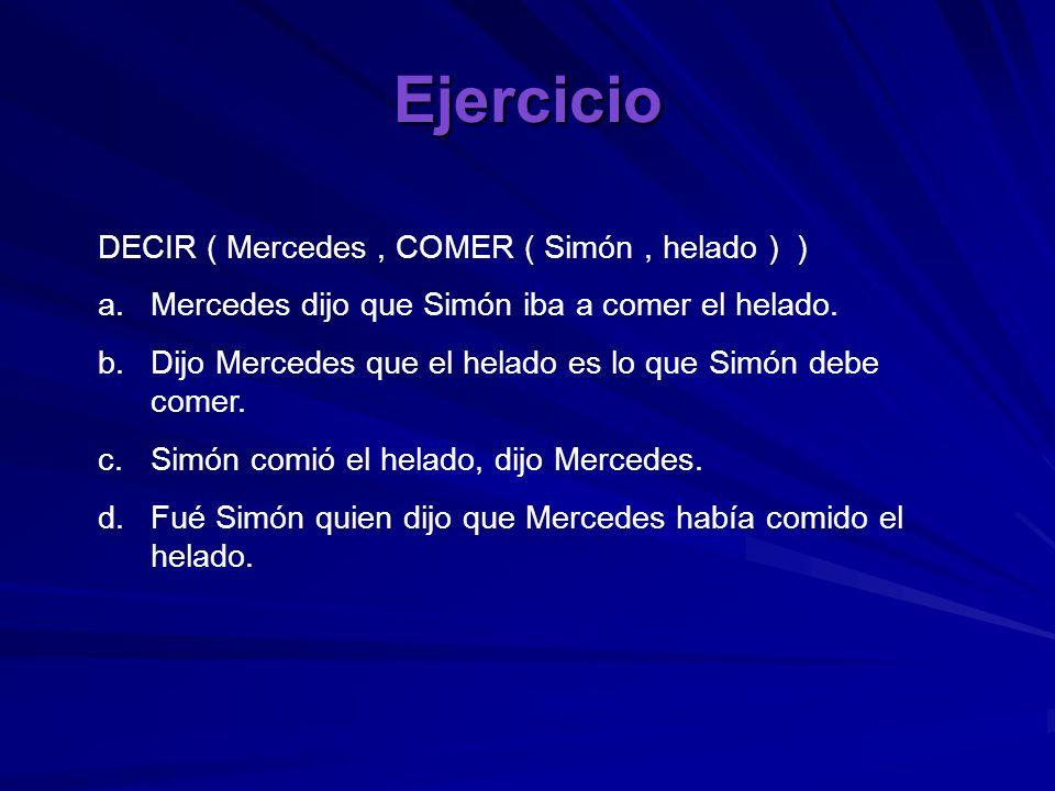 Ejercicio DECIR ( Mercedes , COMER ( Simón , helado ) )