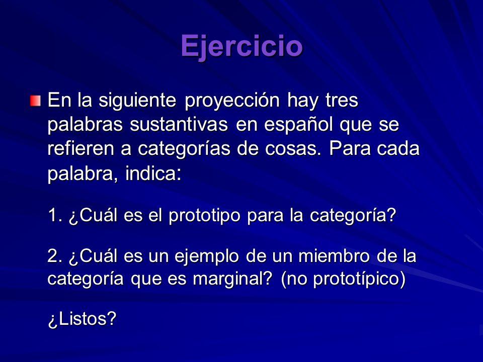 Ejercicio En la siguiente proyección hay tres palabras sustantivas en español que se refieren a categorías de cosas. Para cada palabra, indica: