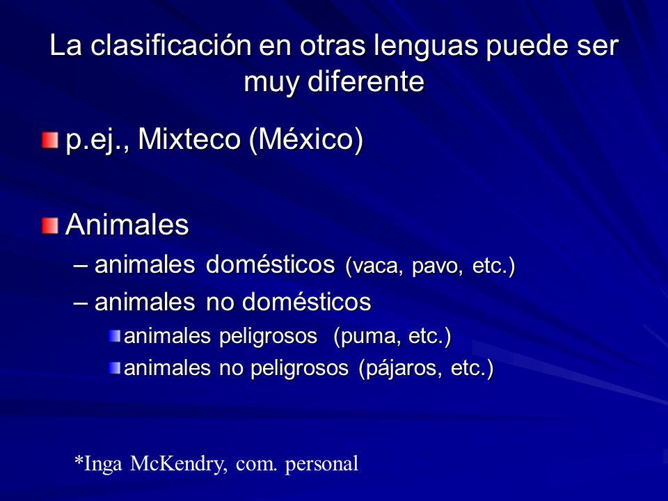 La clasificación en otras lenguas puede ser muy diferente