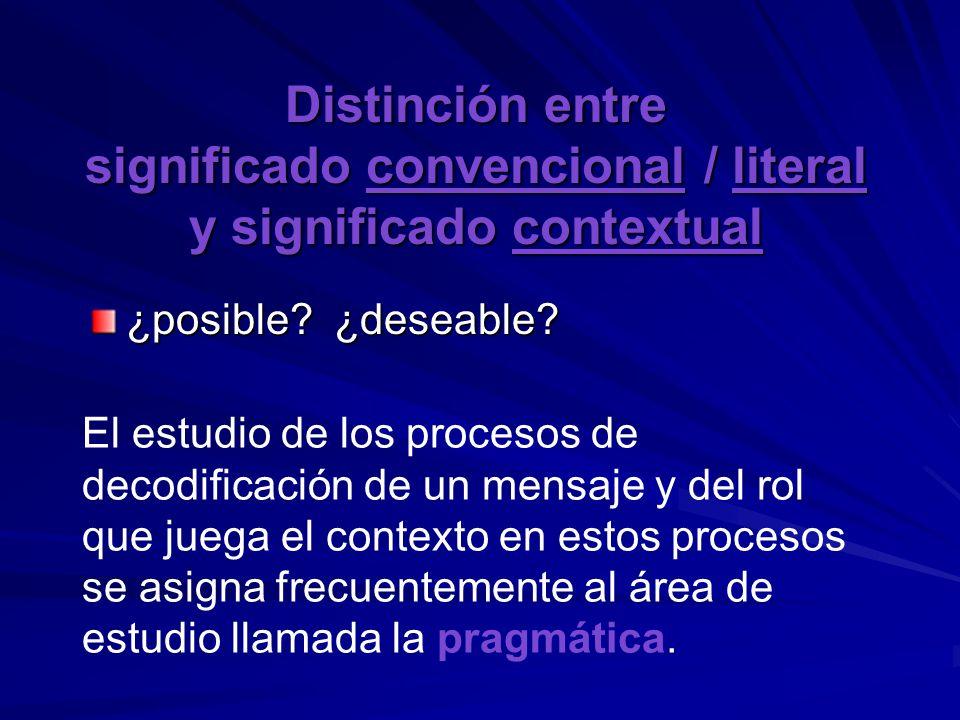 Distinción entre significado convencional / literal y significado contextual