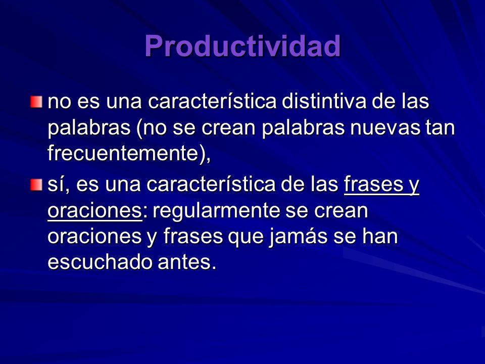Productividad no es una característica distintiva de las palabras (no se crean palabras nuevas tan frecuentemente),