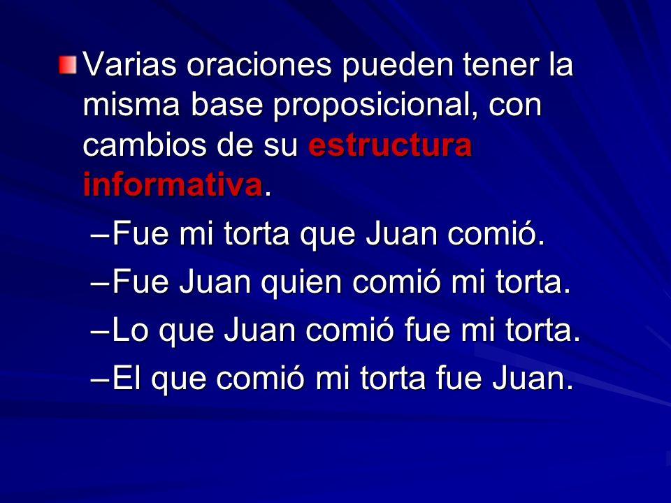 Varias oraciones pueden tener la misma base proposicional, con cambios de su estructura informativa.