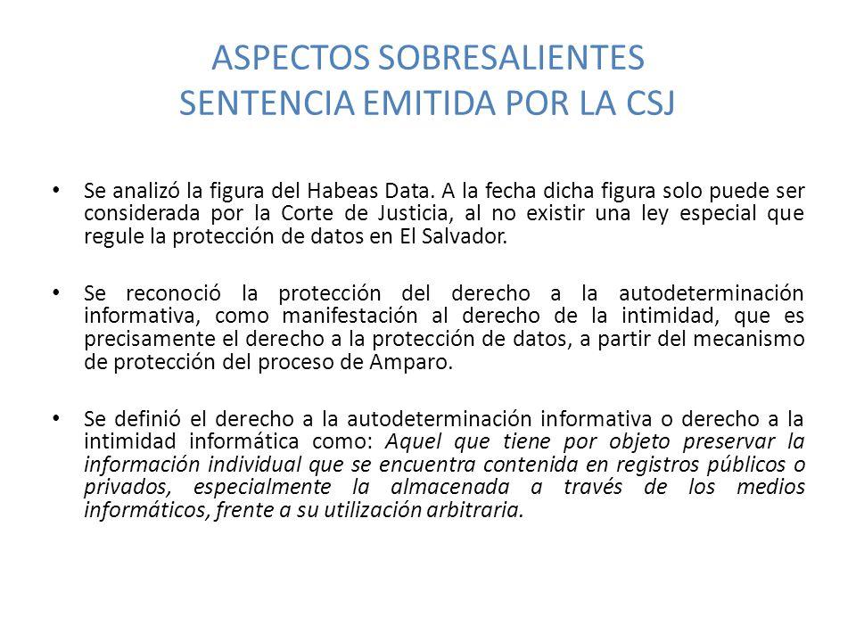 ASPECTOS SOBRESALIENTES SENTENCIA EMITIDA POR LA CSJ