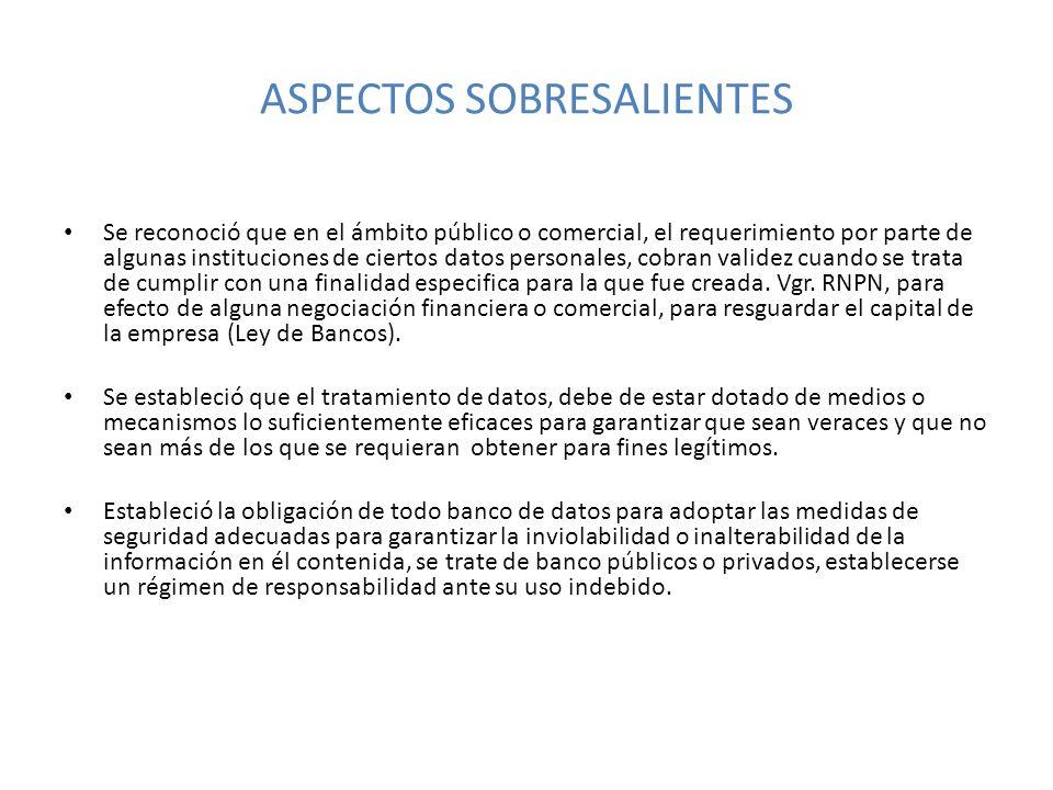 ASPECTOS SOBRESALIENTES