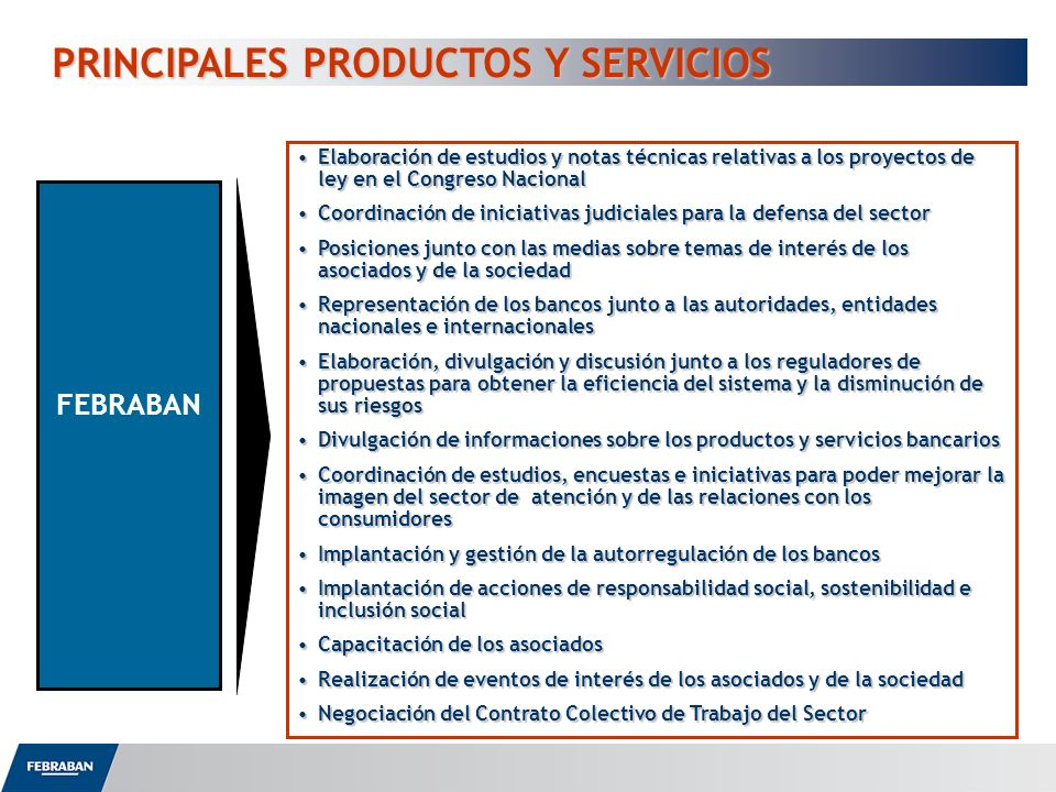 PRINCIPALES PRODUCTOS Y SERVICIOS