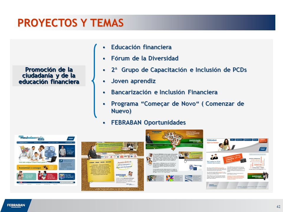Promoción de la ciudadanía y de la educación financiera