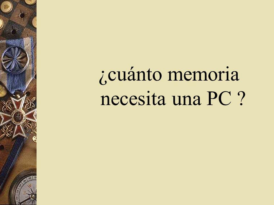 ¿cuánto memoria necesita una PC