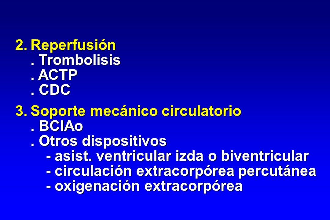 2. Reperfusión . Trombolisis. . ACTP. . CDC. 3. Soporte mecánico circulatorio. . BCIAo. . Otros dispositivos.