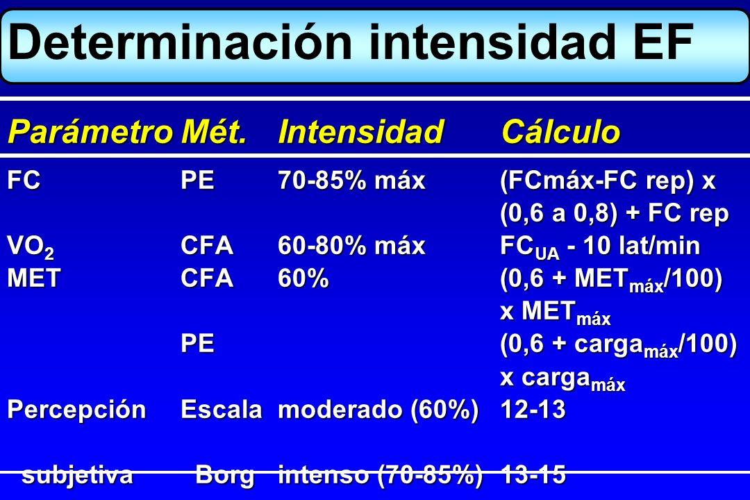 Determinación intensidad EF