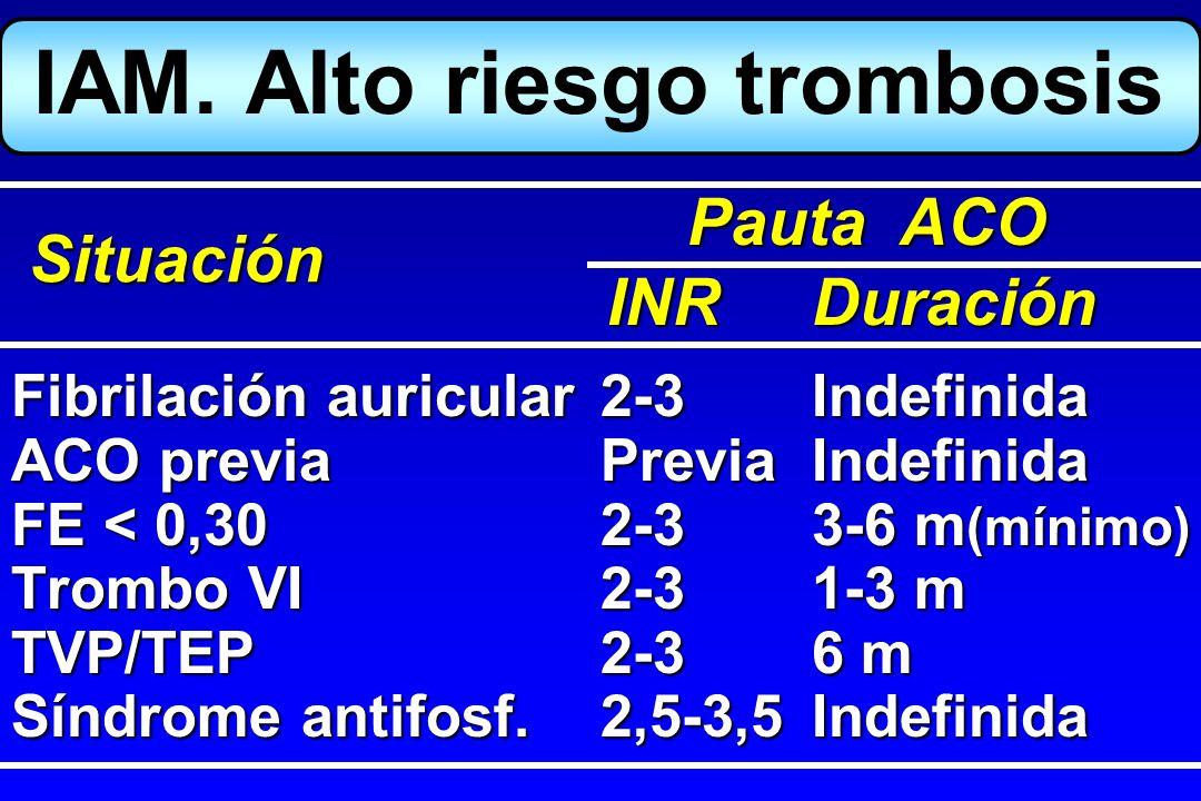 IAM. Alto riesgo trombosis