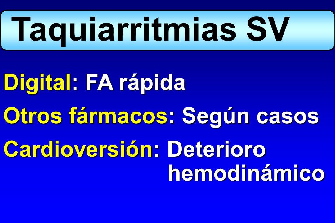 Taquiarritmias SV Digital: FA rápida Otros fármacos: Según casos