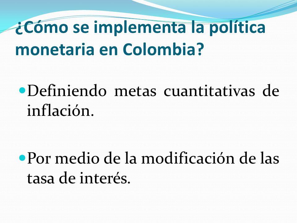 ¿Cómo se implementa la política monetaria en Colombia