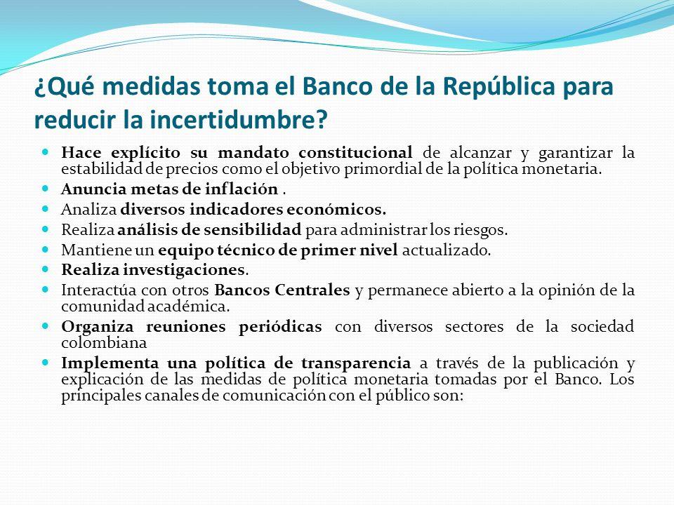 ¿Qué medidas toma el Banco de la República para reducir la incertidumbre