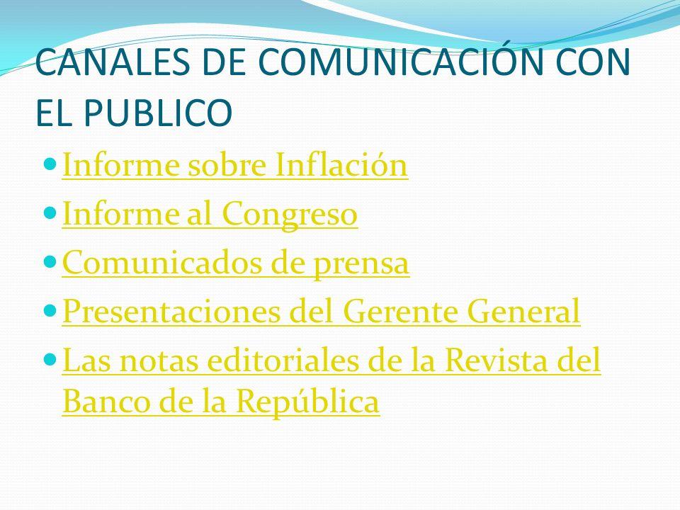 CANALES DE COMUNICACIÓN CON EL PUBLICO