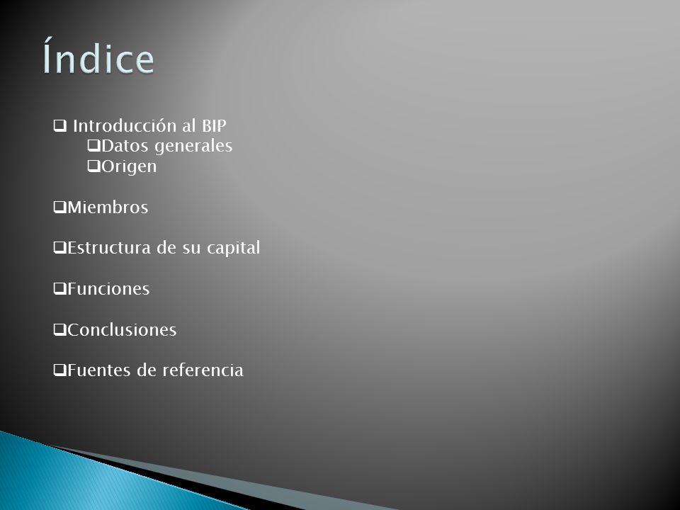 Índice Introducción al BIP Datos generales Origen Miembros