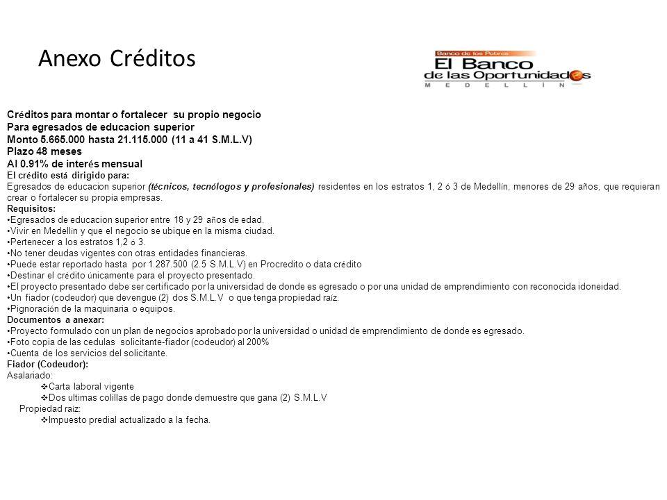 Anexo Créditos Créditos para montar o fortalecer su propio negocio