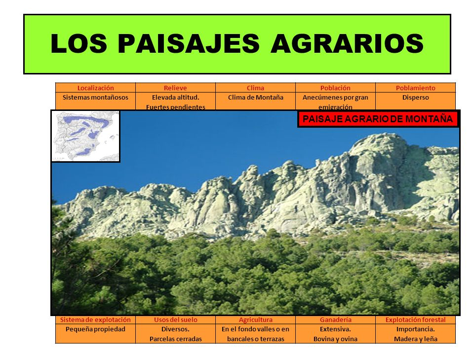LOS PAISAJES AGRARIOS PAISAJE AGRARIO DE MONTAÑA Localización Relieve