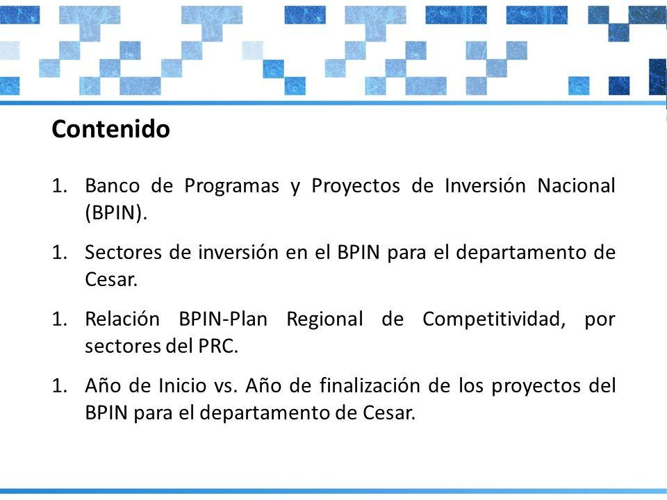 Contenido Banco de Programas y Proyectos de Inversión Nacional (BPIN).