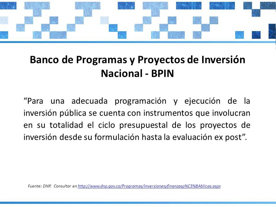 Banco de Programas y Proyectos de Inversión Nacional - BPIN