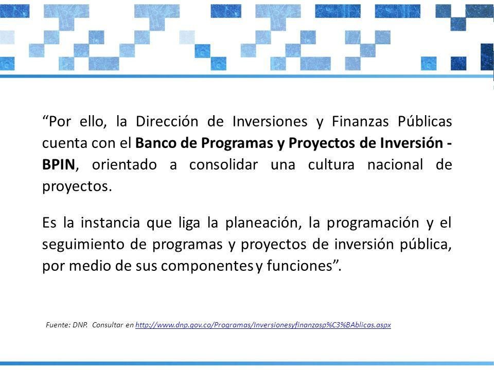 Por ello, la Dirección de Inversiones y Finanzas Públicas cuenta con el Banco de Programas y Proyectos de Inversión - BPIN, orientado a consolidar una cultura nacional de proyectos.