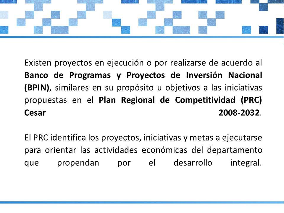 Existen proyectos en ejecución o por realizarse de acuerdo al Banco de Programas y Proyectos de Inversión Nacional (BPIN), similares en su propósito u objetivos a las iniciativas propuestas en el Plan Regional de Competitividad (PRC) Cesar 2008-2032.