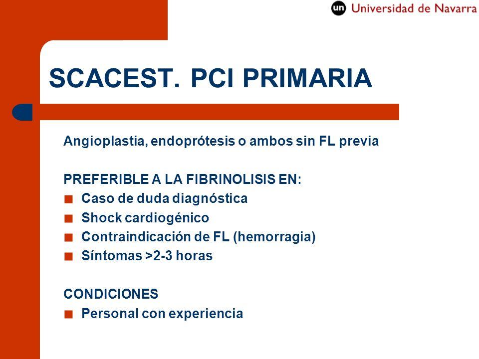 SCACEST. PCI PRIMARIA Angioplastia, endoprótesis o ambos sin FL previa