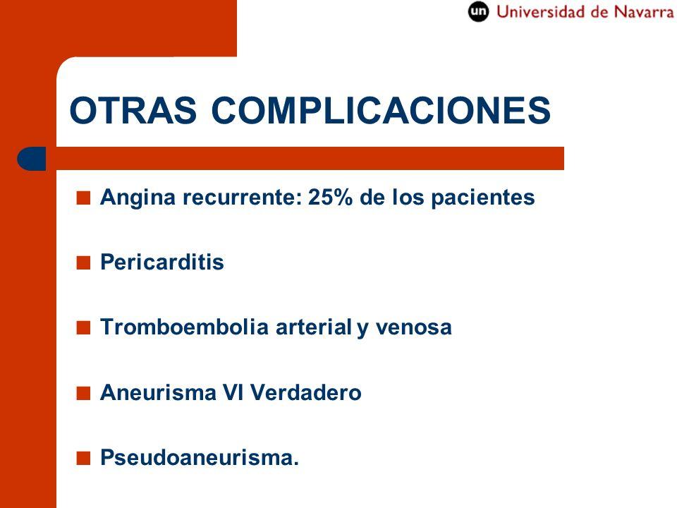 OTRAS COMPLICACIONES Angina recurrente: 25% de los pacientes