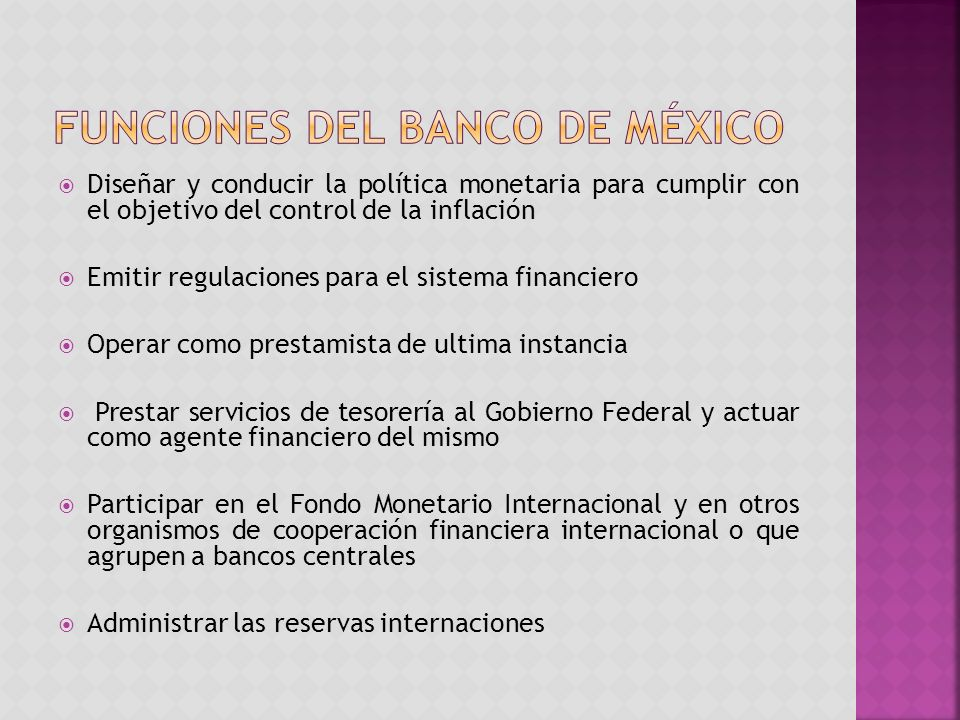 Funciones del banco de México