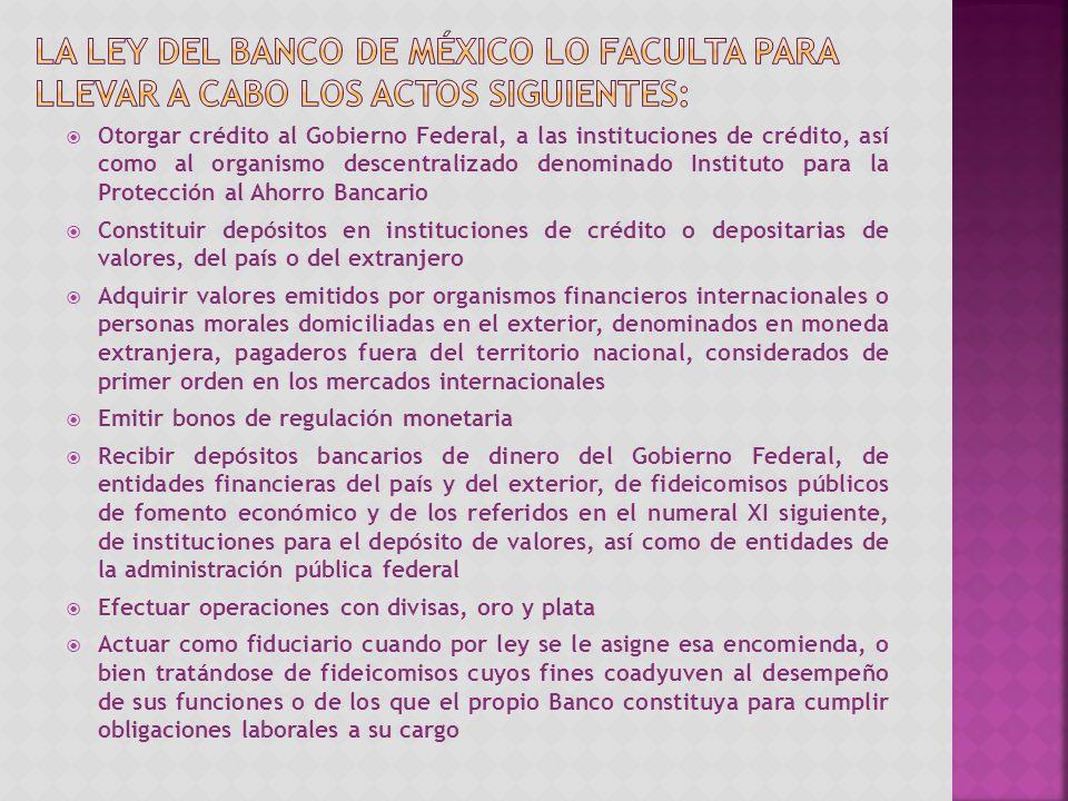 la Ley del Banco de México lo faculta para llevar a cabo los actos siguientes: