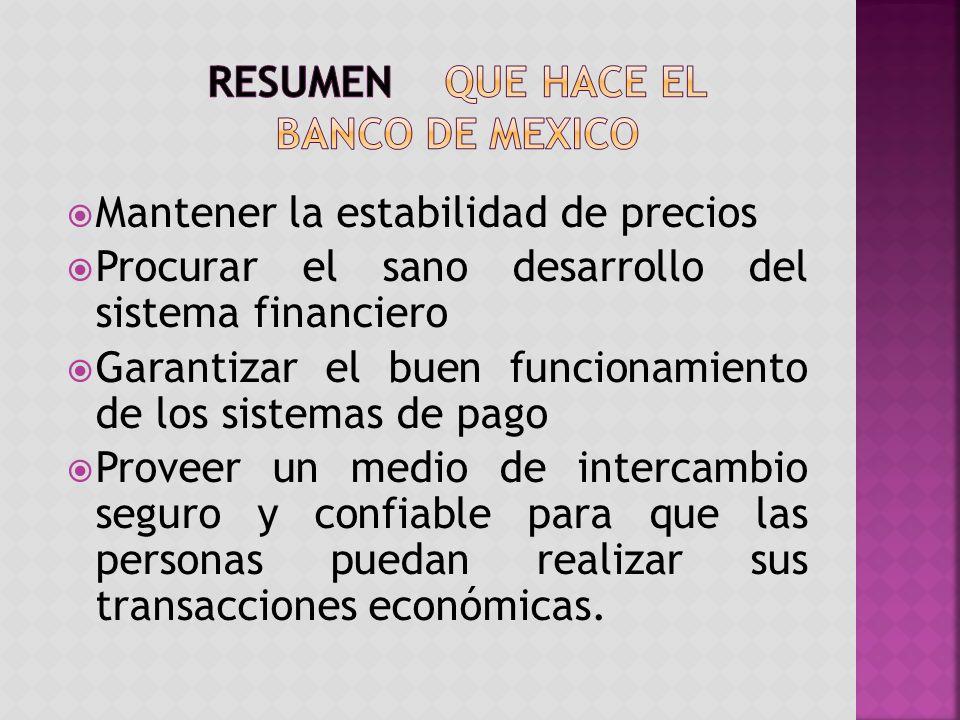 Resumen QUE HACE EL BANCO DE MEXICO