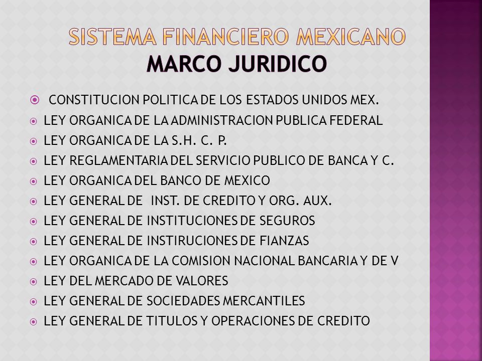 SISTEMA FINANCIERO MEXICANO MARCO JURIDICO