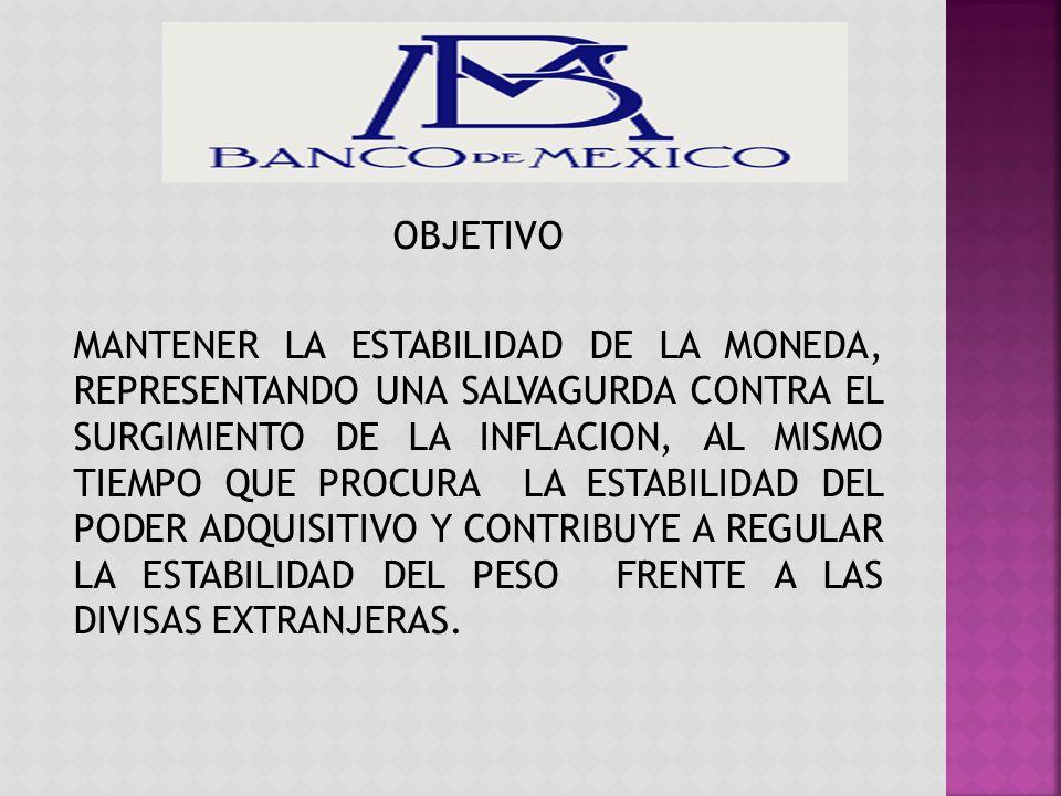 OBJETIVO MANTENER LA ESTABILIDAD DE LA MONEDA, REPRESENTANDO UNA SALVAGURDA CONTRA EL SURGIMIENTO DE LA INFLACION, AL MISMO TIEMPO QUE PROCURA LA ESTABILIDAD DEL PODER ADQUISITIVO Y CONTRIBUYE A REGULAR LA ESTABILIDAD DEL PESO FRENTE A LAS DIVISAS EXTRANJERAS.
