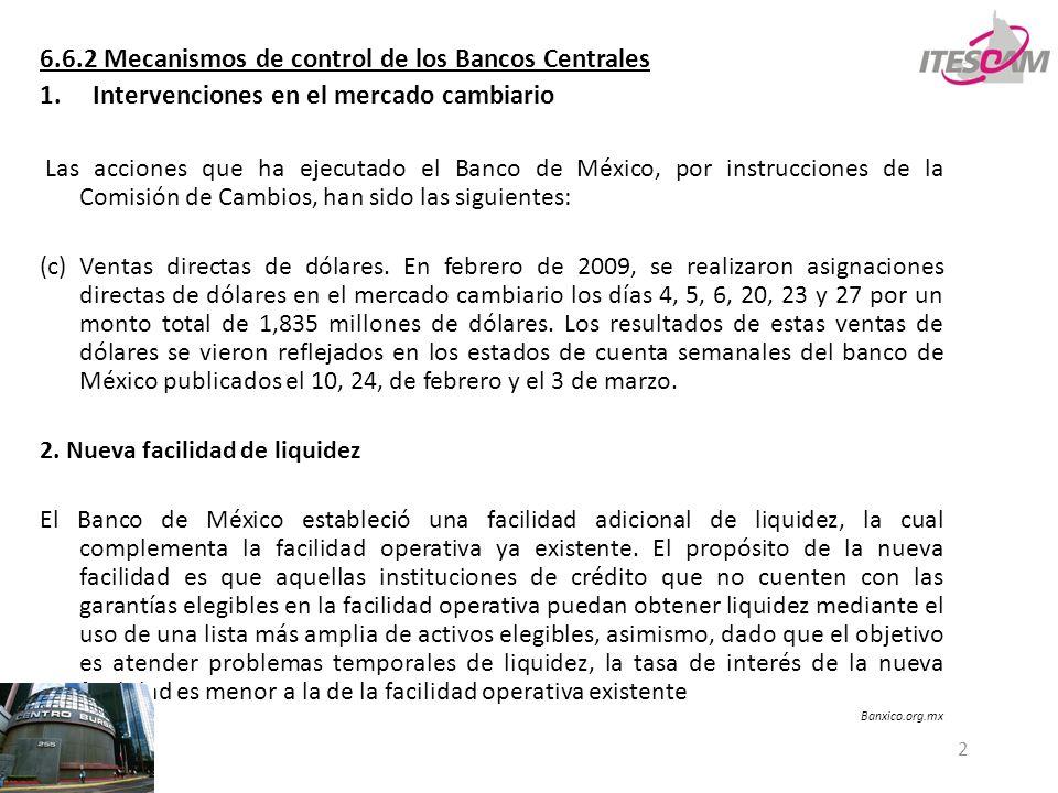 6.6.2 Mecanismos de control de los Bancos Centrales