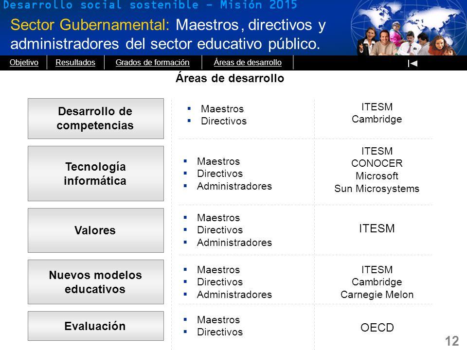Sector Gubernamental: Maestros directivos y administradores del sector educativo público.