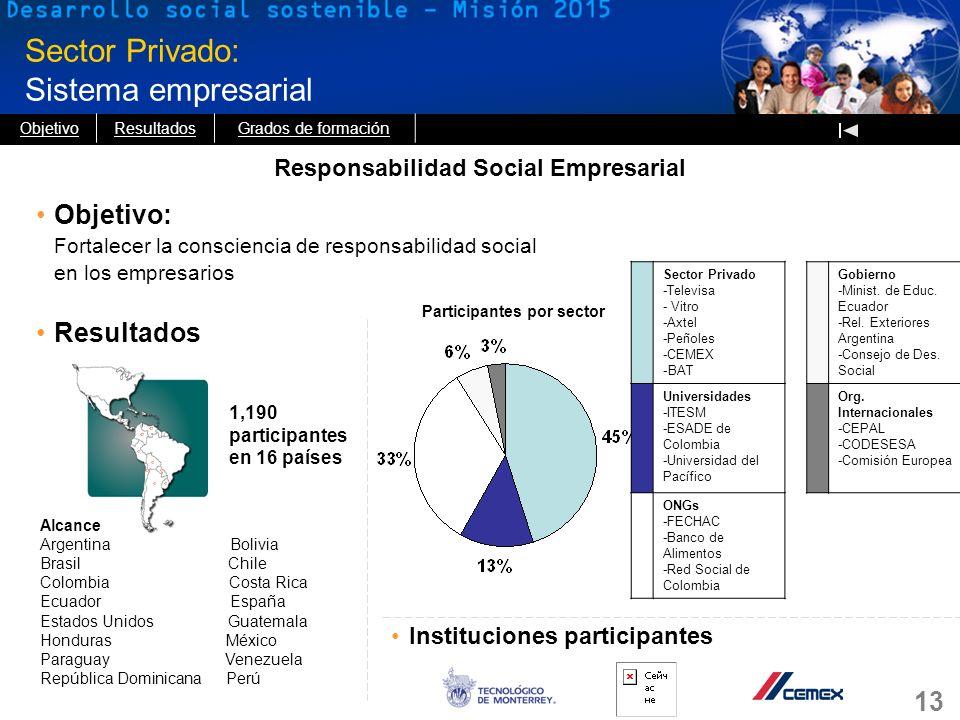 Responsabilidad Social Empresarial Participantes por sector