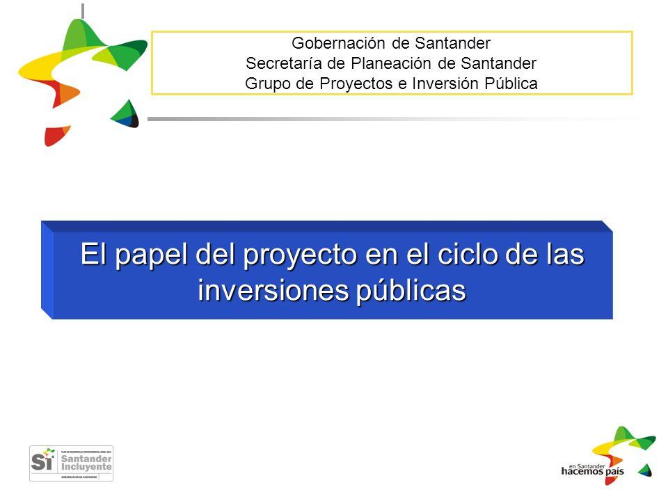 El papel del proyecto en el ciclo de las inversiones públicas